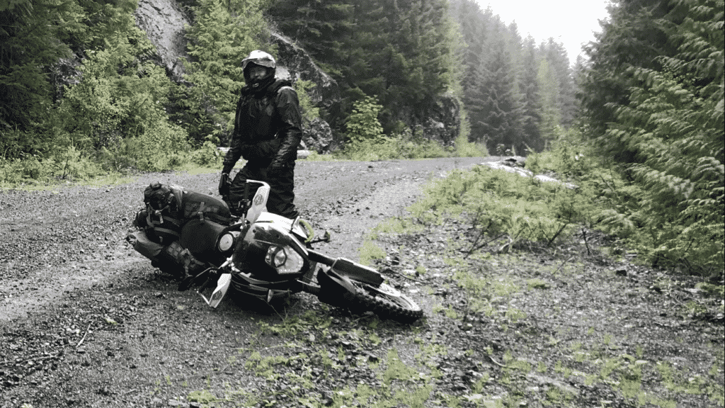 An inevitable misstep, and it's easy to lay your big adventure motorcycle down, lucky there are friends to help pick you back up.