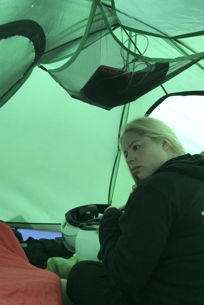 Motorcycle camping poses additional challenges for those that need to do their hair in the morning. Karen made it look easy, it wasn't.
